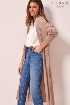 Lipsy Camel Linen Blend Rib Knit Cardigan