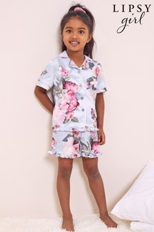 Lipsy Blue Floral Mini Satin Pyjama Set