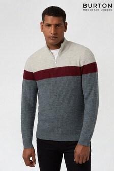 Burton Grey Colourblock Cosy Half Zip Jumper