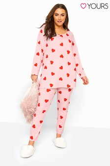 Yours Pink Curve Heart Print Lounge Set