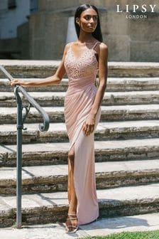 Lipsy Nude Cornelli Lace Bodice Maxi Dress
