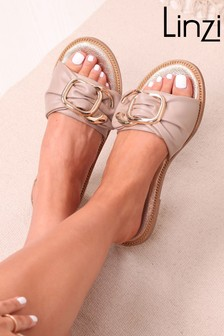 Linzi Brown Luxe Amaya Ruched Chunky Buckle Trim Slider Sandal