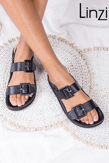 Linzi Black Ariel Covered Buckle Footbed Sandal