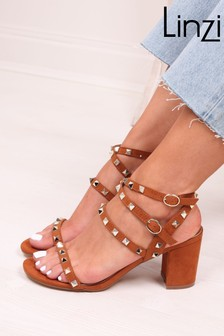 Linzi Brown Iris Studded Block Heeled Sandal