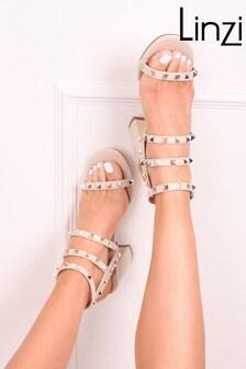 Linzi Beige Iris Studded Block Heeled Sandal
