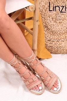 Linzi Nude Alina Lace Up Gladiator Style Sandal