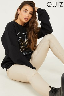 Quiz Black Slogan Print Sweatshirt