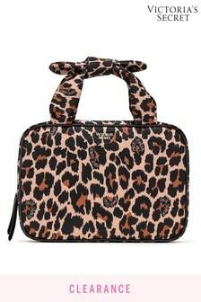 Victoria's Secret Brown Signature Stripe Jetset Cosmetic Bag