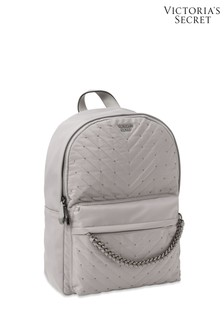 Victoria's Secret Grey and Silver Studded VQuilt City Backpack