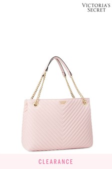 Victoria's Secret Blush Pebbled VQuilt Shoulder Tote