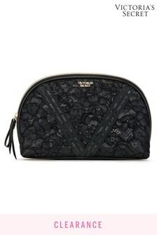 Victoria's Secret Black Floral Lace Glam Bag