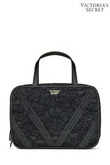 Victoria's Secret Black Signature Stripe Jetset Cosmetic Bag