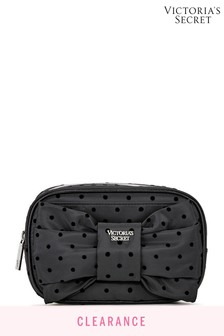 Victoria's Secret Black Dot Floral Lace Glam Bag