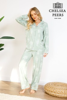 Chelsea Peers Plant Print Wellness Project Premium Satin Short Pyjama Set
