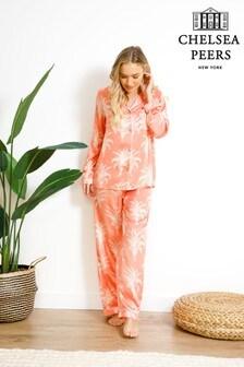 Chelsea Peers Pink Palm Print Wellness Project Premium Satin Long Pyjamas set