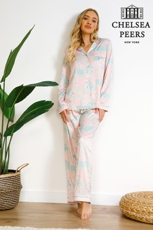 Chelsea Peers Pink Zebra Print Wellness Project Premium Satin Long Pyjamas set