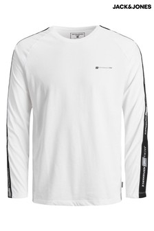 Jack & Jones White Mens Long Sleeve Running Top