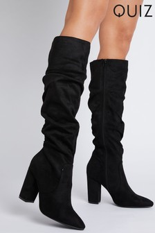 Quiz Black Faux Suede Rouched High Knee Boots