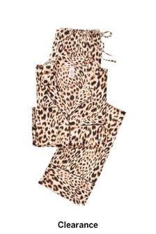Victoria's Secret Champagne Leopard Satin Long PJ Set