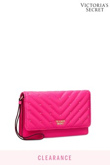 Victoria's Secret Fuchsia Studded VQuilt Tech Clutch