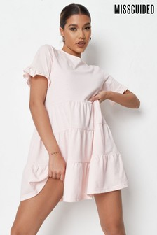 Missguided Pink Frill Sleeve Tiered Smock Dress