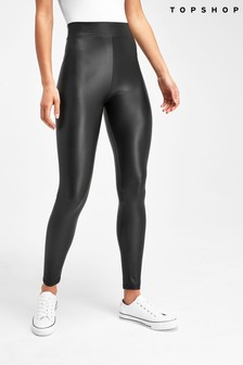 Topshop Black Leather Look Legging