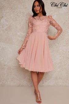Chi Chi London Rose Gold Dorothee Embroidered Bodice Dress