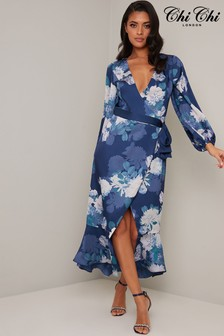 Chi Chi London Navy Bardot Frill Sleeve Dip Hem Midi Dress