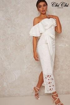 Chi Chi London White Prosha Crochet Midi Dress