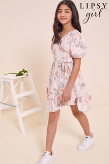 Lipsy Pink Floral Puff Sleeve Wrap Dress