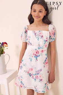 Lipsy White Floral Broderie Printed Puff Sleeve Dress
