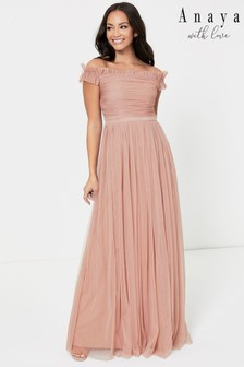 Anaya With Love Bardot Ruffle Maxi Dress