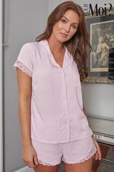 Pour Moi Blush Spot Woven Lace Mix Revere Collar Shirt