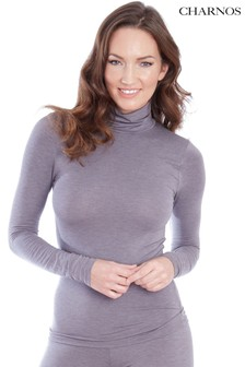 Charnos Grey Second Skin Thermal Roll Neck Top