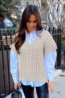 Girl In Mind Cream Cable Knit Vest