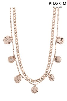 PILGRIM Rose Gold Plated Poesy Crystal Necklace