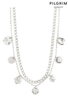 PILGRIM Silver Plated Poesy Crystal Necklace