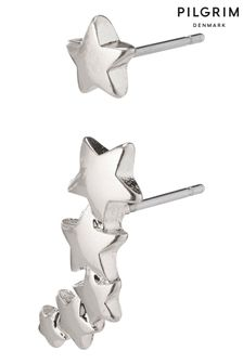 PILGRIM Silver Plated Ava Crawler Star Earrings