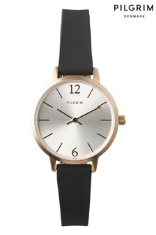 PILGRIM Black and Rose Gold Plated Bianca Watch