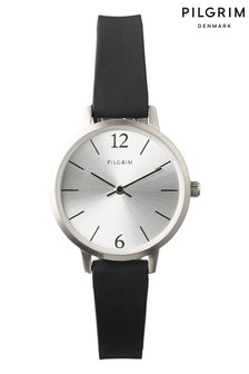 PILGRIM Black and Silver Plated Bianca Watch