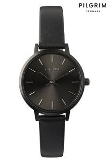 PILGRIM Black and Hematite Plated Nerine Leather Strap Watch