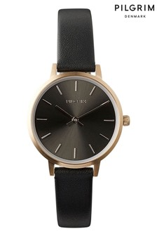 PILGRIM Black and Rose Gold Plated Nerine Leather Strap Watch