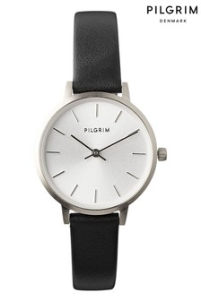 PILGRIM Black and Silver Plated Nerine Leather Strap Watch