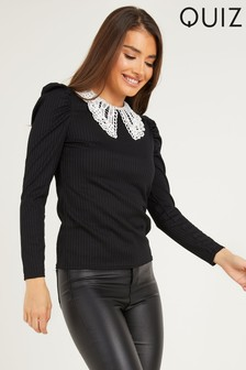 Quiz Black Ribbed Puff Sleeve Top