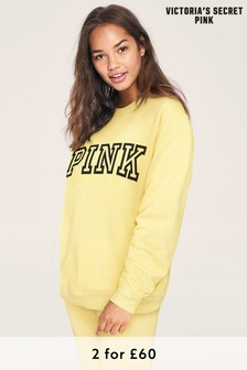 Victoria's Secret PINK Yellow Classic Logo Sweatshirt