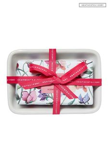 Heathcote & Ivory New Sweetpea and Honeysuckle 150g Scented Soap in Dish