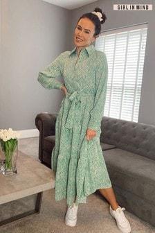 Girl In Mind Green Larissa Long Sleeve Smock Maxi Dress
