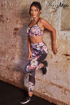 Pour Moi Grey Floral Energy Mesh Panel Sports Leggings