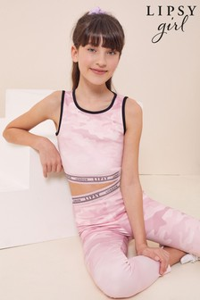 Lipsy Pink Camo Cut Out Back Active Crop Top