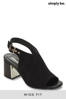 Simply Be Black Wide Fit Metal Detail Block Heel Shoeboot